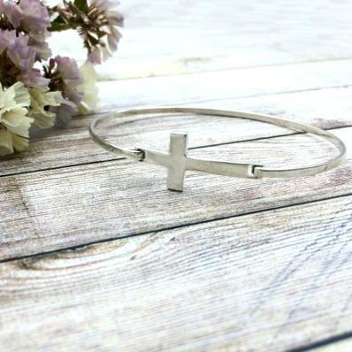 pulsera cruz plata