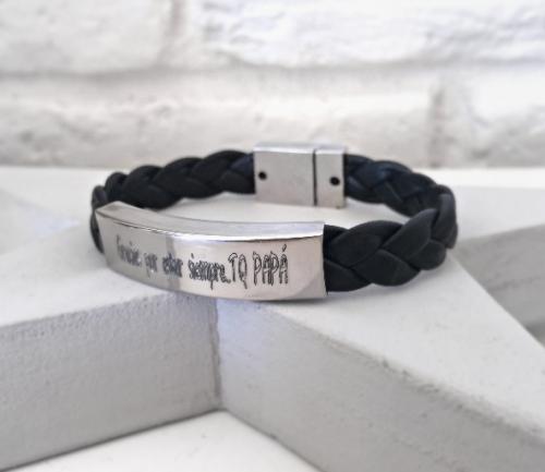 pulsera personalizada cuero trenzado