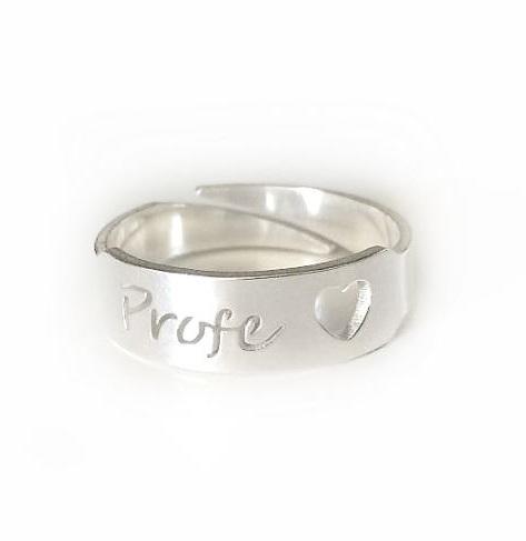 anillo profe plata