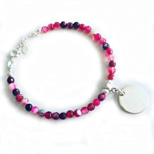 pulseras personalizadas jade rosa medalla plata