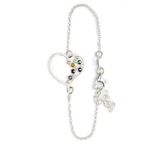 pulsera corazón plata circonitas