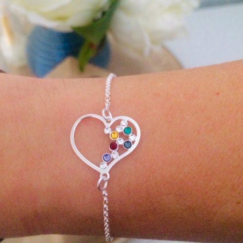 pulsera corazón plata