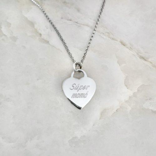 collar corazon personalizado plata