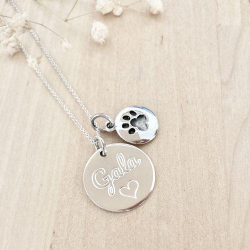 collar memorial mascota plata